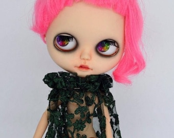 Custom Blythe Doll faceplate custom made by SpookyKidsWorkshop Punk pink hair BJD goth creepy