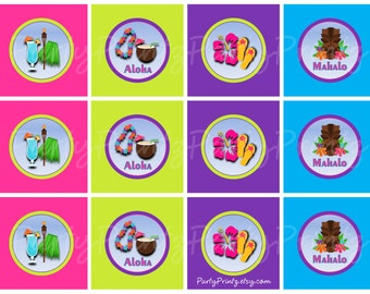 INSTANT DOWNLOAD - Hawaiian Luau - Cupcake Toppers & Favor Tags