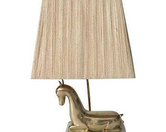Hollywood Regency Brass and Lucite Deer Lamp