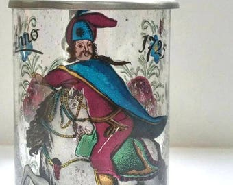 Vintage Stein,Glass With Pewter Lid,Anno 1725,Handpainted