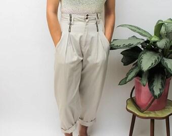 1980s Cream High Waist Trousers Size UK 10/12, US 6/8, EU 38/40