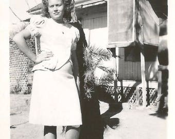 "Vintage Snapshot ""Girl With Attitude"" Teenage Girl Saddle Shoes Blonde Curly Hair Found Vernacular Photo"
