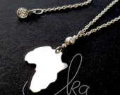 "Sterling Silver Africa Map Charm necklace / Africa Map pendant necklace / Africa chain / CZ Crystal 16""-18"" or 18""-20"" extendable chain"