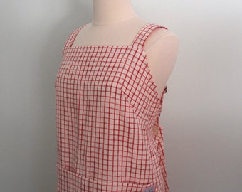 Red Gingham Apron, Linen Wrap Apron Dress, Flax Japanese Apron, Garden Apron, Artist Apron, Yarn Dyed Red Gingham LInen, Adjustable
