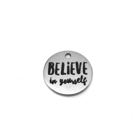 2018 Motivation - 2018 Motivational Gift - 2018 Quote Gift - Believe in Yourself Charm - Weight Loss Motivation - Fitness Motivation Jewelry