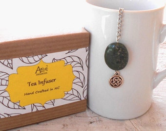 Celtic Tea Infuser, Infinity Knot, Lead Free Charm, Irish, Gaelic, Scottish Tea, Green Lapis Stone, Friendship, Loyalty,  Eternity Symbol