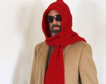 Mens long hooded scarf, red hooded scarf, open ends hooded scarf, mens scoodie, Calypso Long