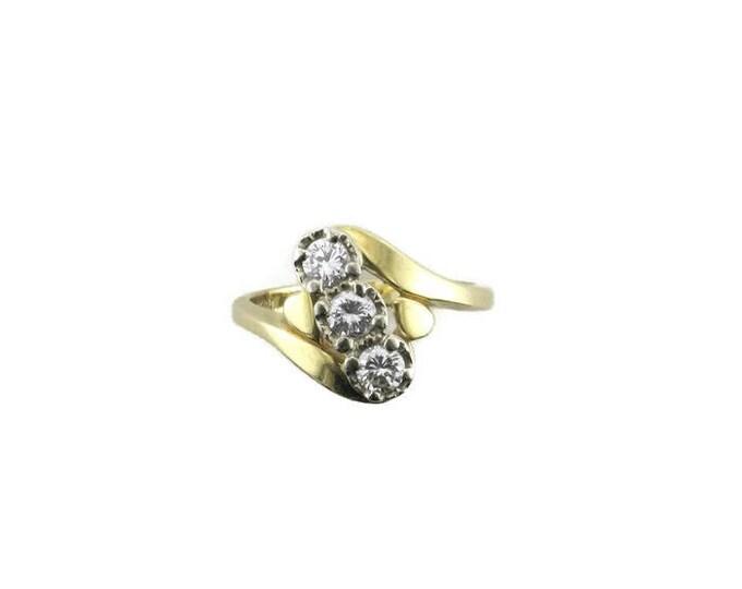 Diamond Cocktail Ring; Diamond Right Hand Ring; Yellow Gold Ring with Diamonds set on the Diagonal; Yellow Gold Diamond Ring