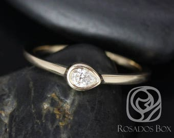 Rosados Box Stephanie 14kt Yellow Gold Pear Diamond Extra Low Thin Skinny Ring