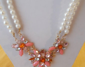 2 Row White Sea Shell Pearl Necklace with Shads of Pink Crystal Flower Pendants