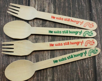 12 Hungry Caterpillar Party, Forks, Spoons, Knives, Silverware, Favors, Decoration, Buffet, Silverware, 1st birthday, kids party baby shower