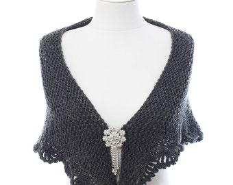 Wedding Shawl, Bridal Shawl, Bridal Wedding Shawl, Grey Shawl, Hand Knit Crochet Shawl, Wedding Capelet, Bridesmaid Shawl, Gift Ideas