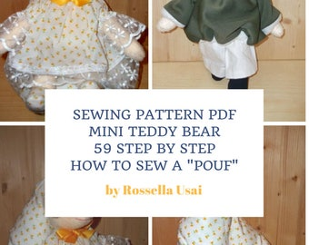 Sewing Pattern PDF Mini Teddy Bear - Tutorial & Pattern 50  pages - 59 Step by Step - Pouf Sewing Pattern for my Mini Bear