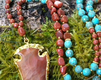 Turquoise + Sunstone + Sandalwood Mala with Electroplated Jasper Arrowhead