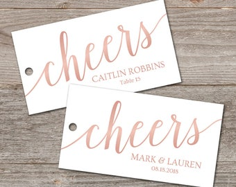 Cheers Liquor Bottle Tags, Rose Gold Tags Printable // Wedding Place Card Tags Template // Favor Tags Printable, Editable Download
