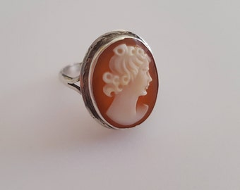 Vintage 1930s Cameo Sterling Silver Ring