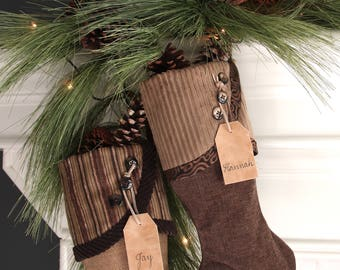 Christmas Stocking Tags - Personalized Tan Leather Tags -  Custom Names in Brown Calligraphy Ink and Tan Suede Cord