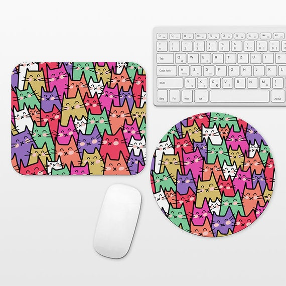 Cat Mouse Pad Round or Rectangle, Cat Pattern Mouse Pad, Cat Lover Office Gift, Cool Mouse Pad Cat Mousepad Colorful Mouse Pad Fun Mouse Pad