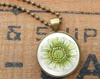 Sunflower Pendant, Sunflower Glass Necklace, Watercolor Sunflower Pendant, Floral Necklace, Pale Yellow Sunflower Pendant