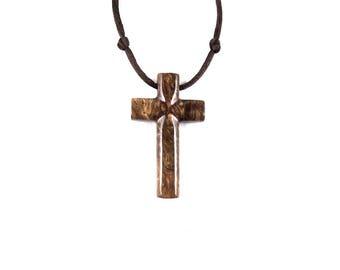 Mens Cross Necklace, Wooden Cross Pendant, Wood Cross Necklace, Hand Carved Wood Cross Pendant, Mens Cross Pendant, Christian Jewelry