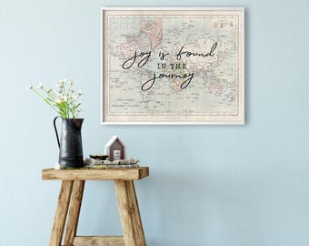 World map PRINTABLE Art - Quote - Joy is found in the journey - Graduation gift - Horizontal - Inspirational Print - Poster - SKU:2708