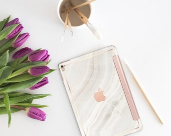 """Marble Stone with Rose Gold Smart Cover Hard Case for the iPad Air 2 , New iPad 9.7 2017 , New iPad Pro 10.5"""" 2017 - Platinum Edition"""