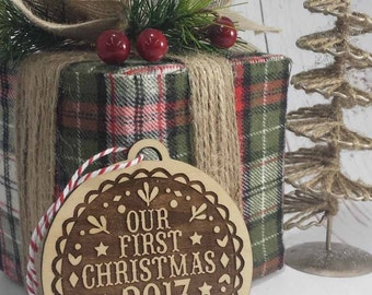 Our First Christmas 2017 Wood Ornament - Christmas Ornament - Nordic Design -  Free Engraving