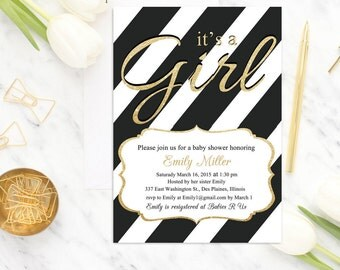 Black White Baby Shower Invitation It's a Girl Baby Shower Invite, Girl Baby Shower Invitation, Gold Glitter, Modern, Digital or Printed