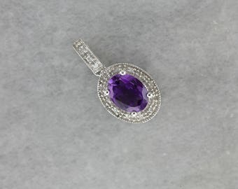 Contemporary Amethyst and Diamond Halo Pendant in White Gold NXRFRD-R