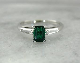 Dark Green Emerald Solitaire in White Gold, Vintage Emerald Ring, Emerald and Diamond Ring 9DE2M1-P