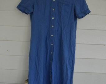 Womens Blue Button down Dress