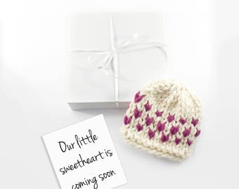 Valentines Day Baby Announcement, February Heart Pregnancy Reveal, Holiday Baby Card