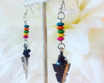 I'M PART OF A SET! Delicate Tribal Stone Bead Dangle Earrings  In-Stock! Lightweight - Delicate Birthday Gifts For Her Bachelorette Teenage