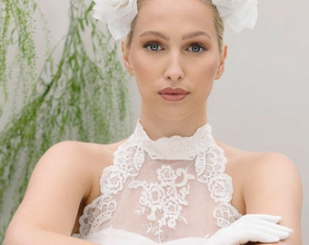 Rose Wedding Band, White Crown of Roses, Brides Flower fascinator - Iku
