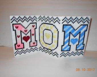 Mom, standing, tri fold, plastic canvas