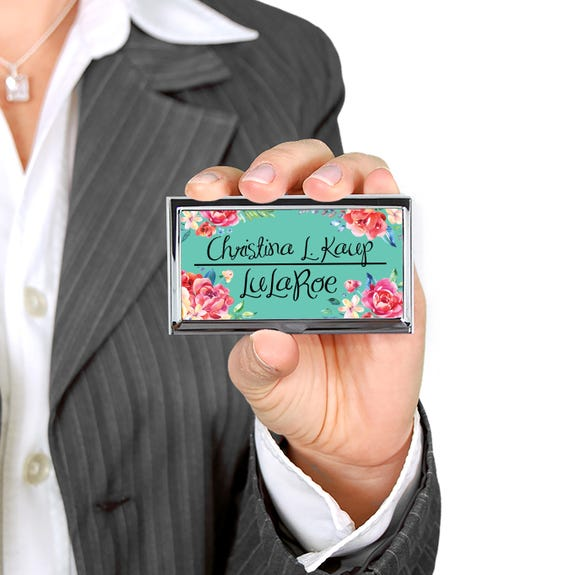 Personalized Business Card Holder Custom Business Card Case New Job Gift Unique Promotional Items Classy Floral Design Business Name Flowers