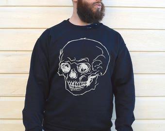 Mens Skull Sweater, Dia De Los Muertos, Skull Sweatshirt, Black Skull Sweatshirt, Mens Black Sweatshirt, Mens Skull Sweatshirt, Skull Print