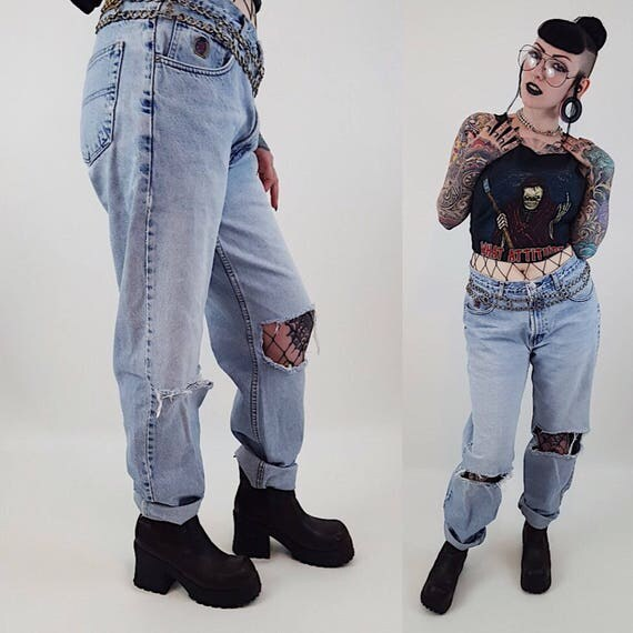 Vintage Tommy Distressed High Waisted Jeans - 90's Light Wash High Waist Denim -  Blue Holey Mom Jeans - Medium Light Blue Women's Jean 12