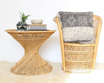 Rattan Coffee Table Vintage Wicker Hourglass Side Table End Table Accent  Table Boho Home Decor