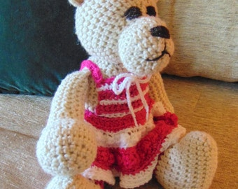 "Crocheted teddy bear stuffed animal doll toy ""Kayla"""