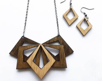 Wooden Statement Necklace and Diamond Shaped Earrings Set - Wooden Necklace, Wooden Earrings, Cyber Monday, Wooden Jewelry, Gift for her