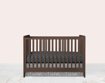 Gray Featherland Crib Skirt, Feather Crib Skirt, Crib Skirt, Nursery Bedding, Modern Crib Skirt, Baby Nursery, Gender Neutral Crib Skirt