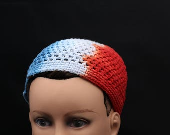 Tie Dye Crochet Kufi, Trippy USA Beanie, Hippie Patriotic woven hat