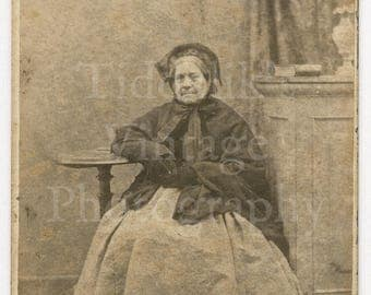 CDV Carte de Visite Photo Victorian Old Woman Seated Portrait Hoop Dress & Bonnet Hat - Peters of Oswestry England - Antique Photograph