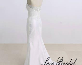 Satin Lace Wedding Dress Destination Wedding Dress Sheath Bridal Gown with Sweetheart Neckline