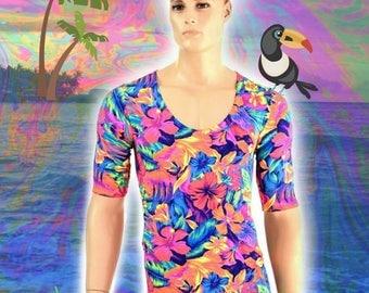 Mens Scoop Neck Tee Length Sleeve Tahitian Floral UV Glow Romper Rave Festival Clubwear EDM Burning Man Party Animal Onsie Bromper - 154572