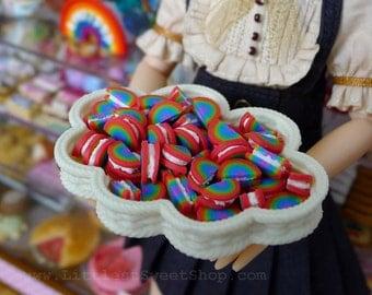 Miniature Rainbow Cream Sandwich Cookie Biscuit Dolls Food 1:6 Scale  Handmade by Nadia Michaux