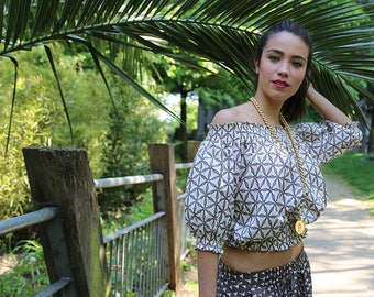 SALE! free-size Brown Flower Cropped Top   Big Sleeves made in Cotton  and Handmade  Block Print