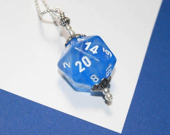 D20 blue dice pendant | Borealis dice | dice necklace | dice jewelry | D&D | dungeons and dragons | nerd jewelry | gift for her