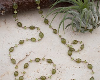 Green Grossular Garnet and Peridot Necklace    Hand Knotted Green Gemstone Neccklace    Silk Cord Necklace